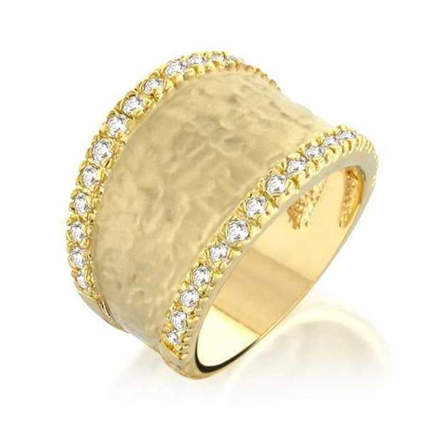 Bling Jewelry Pave Cubic Zirconia Hammered Gold Plated Matte Modern Ring
