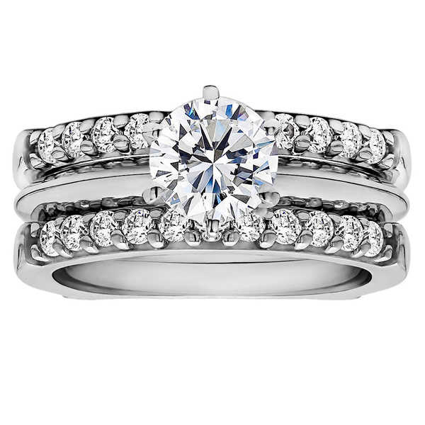 TwoBirch Sterling Silver 1ct Cubic Zirconia Solitaire Wedding Ring and Straight Guard Set