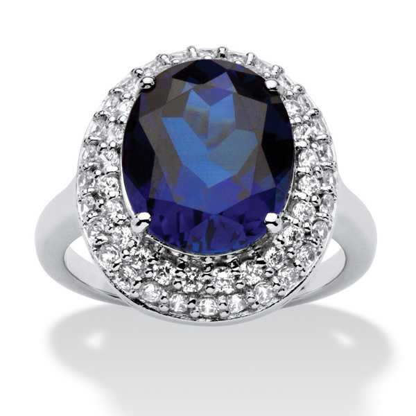6.68 TCW Oval-Cut Sapphire Double Halo Ring in Platinum over .925 Sterling Silver Glam CZ
