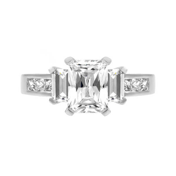 Sterling Silver CZ Emerald Cut Engagement Ring