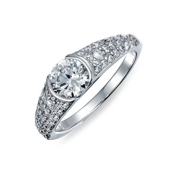 Bling Jewelry Vintage Style .925 Silver .75t Solitaire CZ Engagement Ring