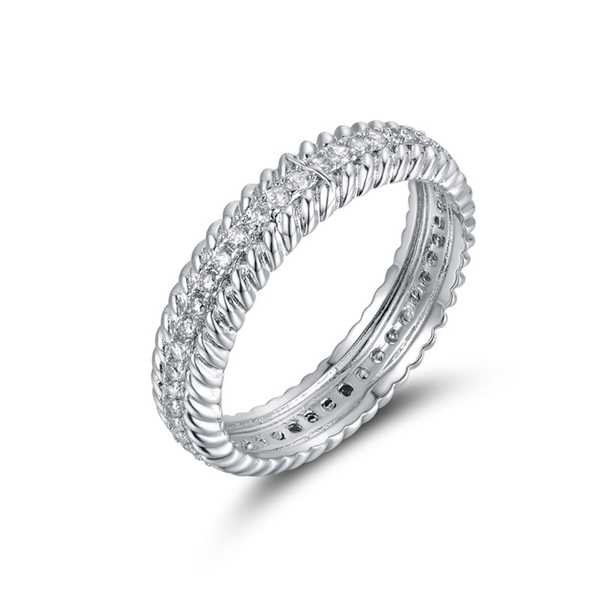 White Gold Plated & Cubic Zirconia Eternity Band