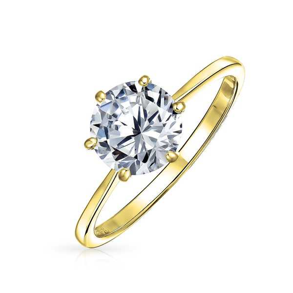 Bling Jewelry Gold Plated .925 Silver Round CZ Solitaire Engagement Ring