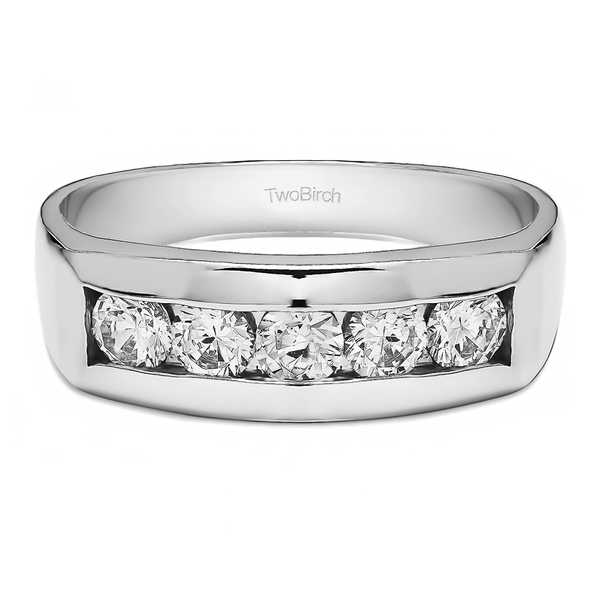 TwoBirch 10k Gold Men's Wedding Fashion Ring with 0.75 Carats Cubic Zirconia