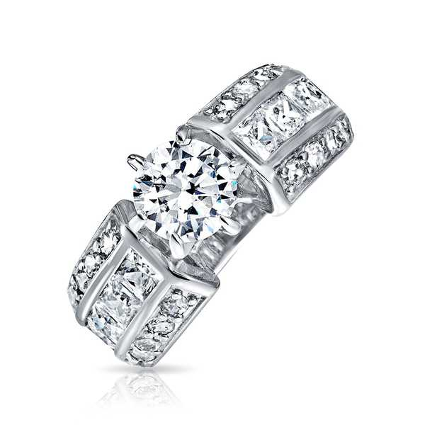 Bling Jewelry Sterling Silver Round Cut CZ Wide Band Engagement Ring