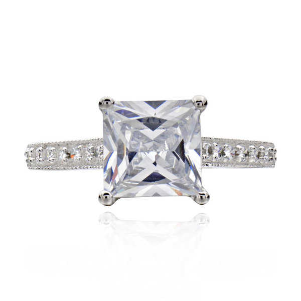 Sterling Silver 2 3/4ct TGW Princess-cut Cubic Zirconia Bridal Engagement Ring (China)
