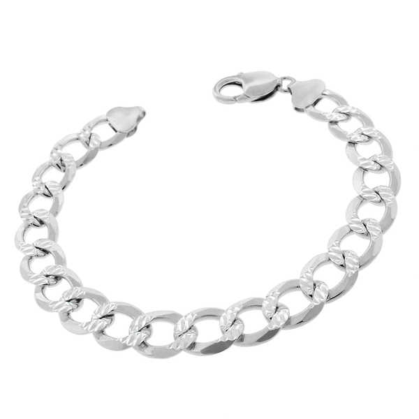 .925 Sterling Silver 10.5mm Solid Cuban Curb Link Diamond-cut ITProlux 8.75-inch Bracelet Chain