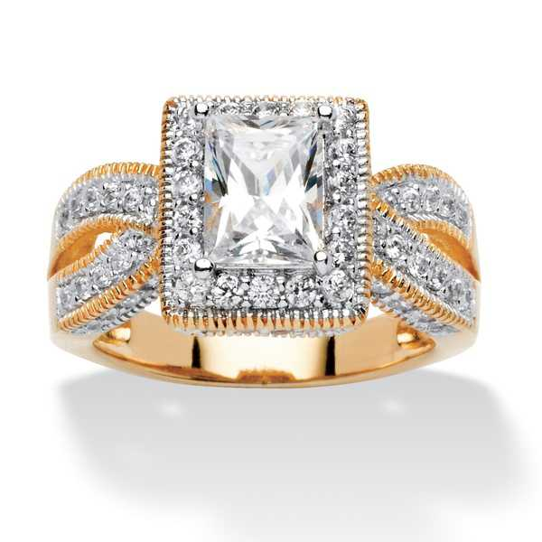 2.02 TCW Emerald-Cut Cubic Zirconia Milgrain Double Shank Ring in 18k Gold over Sterling S
