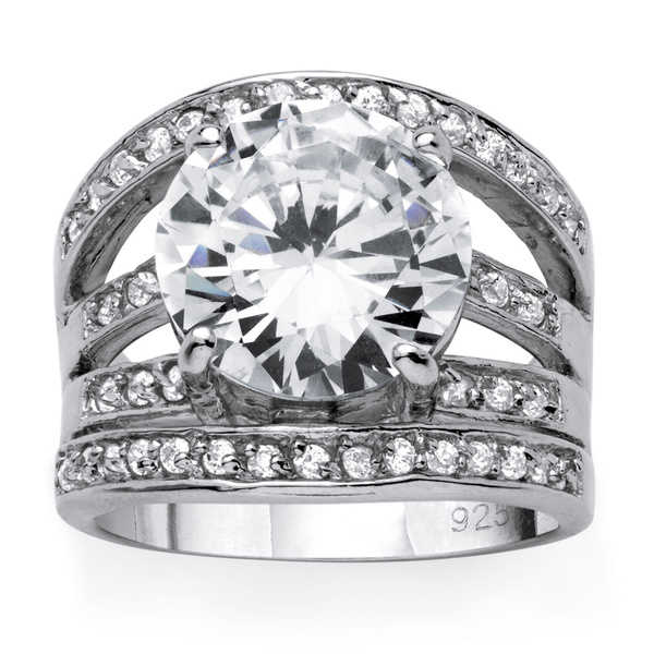 6.54 TCW Round Cubic Zirconia Sterling Silver Contemporary Ring Glam CZ