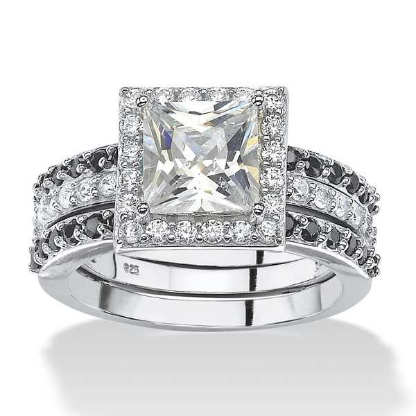 Platinum over Sterling Silver 2 5/8ct Princess-cut Cubic Zirconia Halo Bridal Jacket Ring