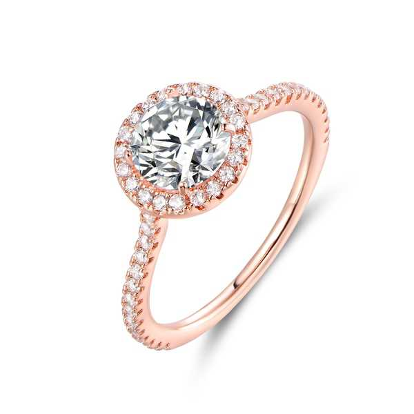 Rose Gold & CZ Halo-Cut Engagement Ring - White