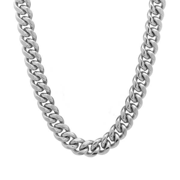 Rhodium Plated Sterling Silver 30-inch Cuban Link Chain Necklace