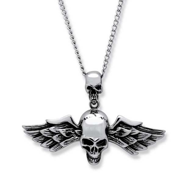 Stainless Steel Men's Double Skull and Wings Pendant