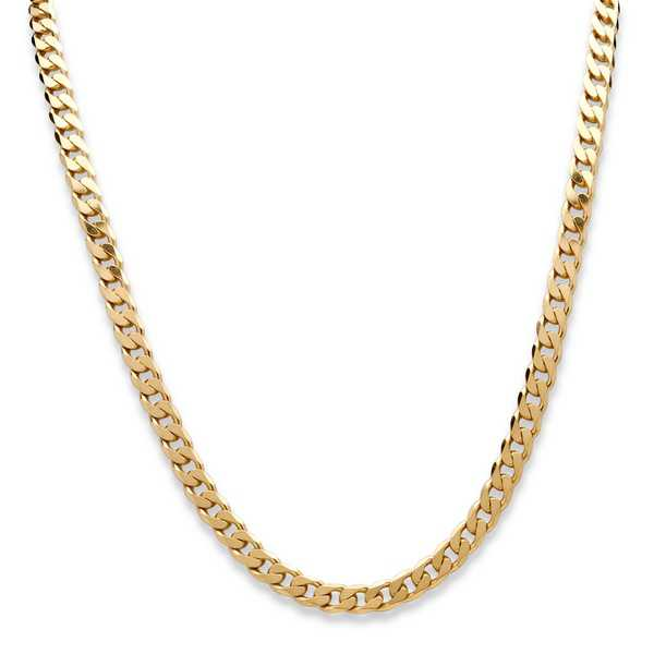 Curb-Link Necklace in 18k Gold-Plated Sterling Silver 22' (6.5mm) Tailored