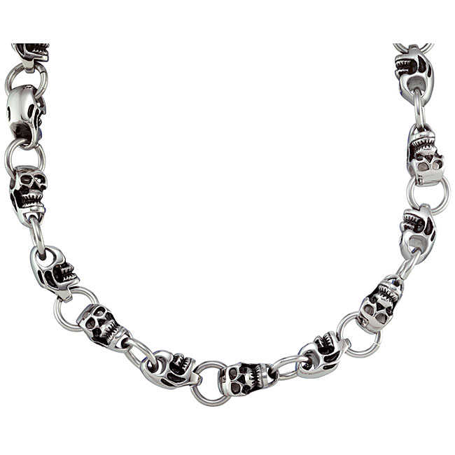 Men's Stainless Steel Skull Chain Necklace (24-inch)