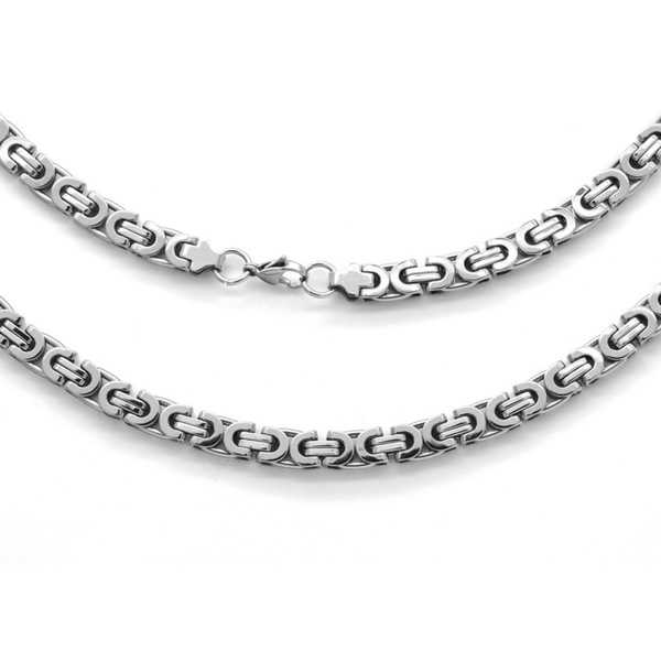Stainless Steel Flat Byzantine Necklace in 2 colors