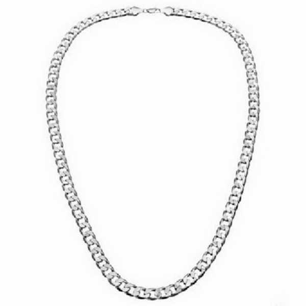 Simon Frank Designs 20'-Inch 7mm Cuban Silver Overlay Chain (20-inch)