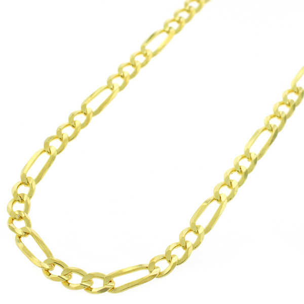 Yellow Goldplated Sterling Silver 4mm Solid Figaro Link ITProLux Chain Necklace