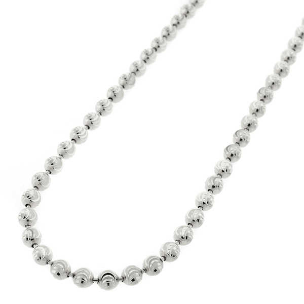10k White Gold 4mm Moon-cut Bead Pendant Chain Necklace