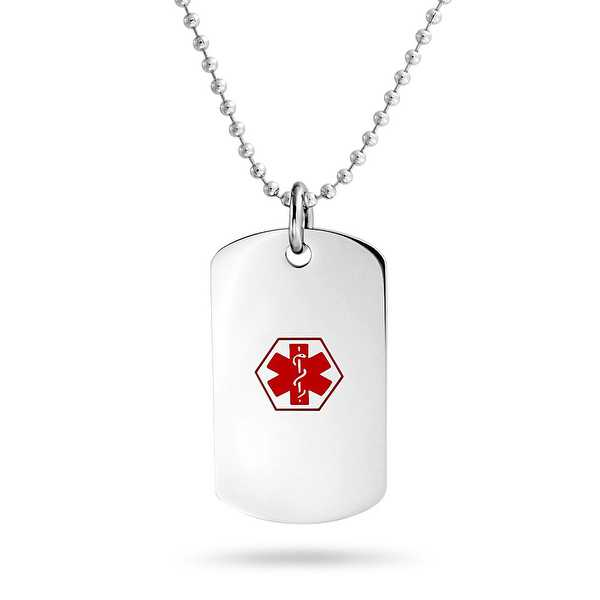 Bling Jewelry Enamel Diabetic Medical Alert ID Dog Tag Necklace 19 Inches Steel - Red