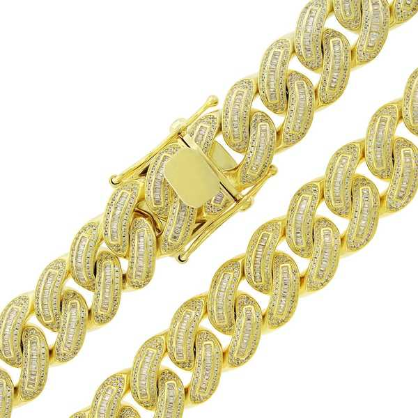 Gold over Silver 16mm Cubic Zirconia Baguette Iced Out Miami Cuban Curb Link Necklace - Yellow