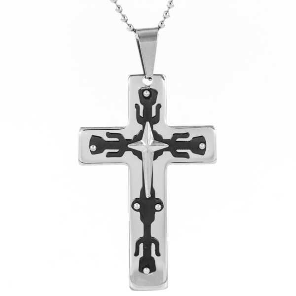 Men's Black-plated Stainless Steel 3-layer Cross Pendant Necklace