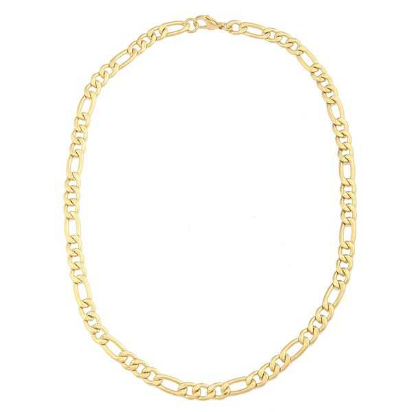 Stainless Steel and Gold IP Men's Figaro Chain Necklace