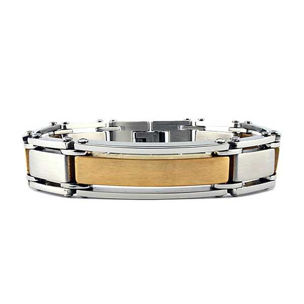 Stainless Steel Men's Bracelet with Gold Plating (15mm Wide) 8.5 Inches