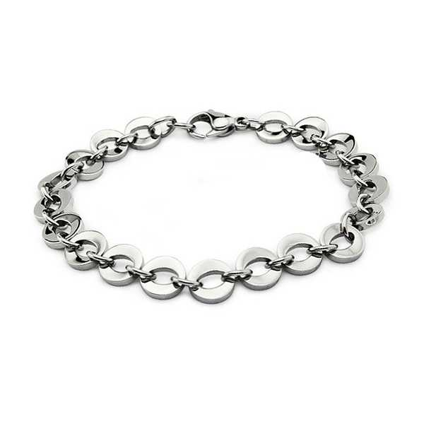 Stainless Steel Women's 'O' Link Bracelet with Lobster Clasp 8 Inches
