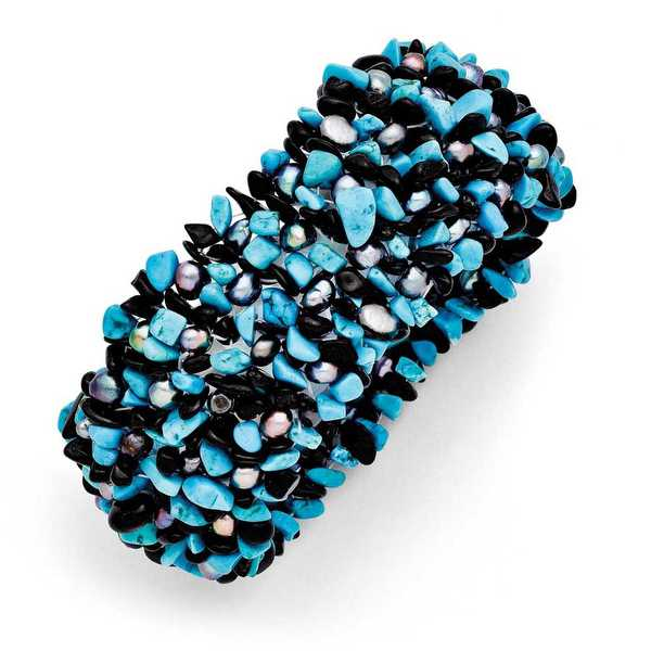 Chisel Dyed Howlite Turq Color, Black Tourmaline & FWC Pearls Stretch Bracelet'