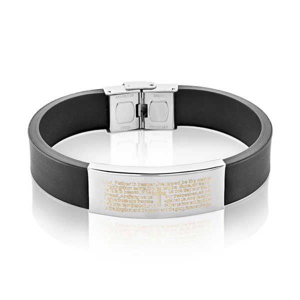Men's Stainless Steel Lord's Prayer ID Rubber Bracelet - 8.25 inches (16mm Wide)