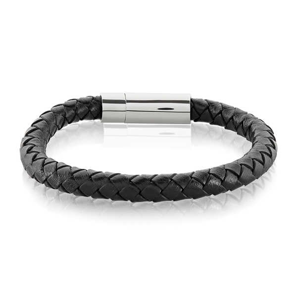 Crucible Men's High Polish Stainless Steel Braided Genuine Leather Bracelet - 8.5 inches (8mm Wide)