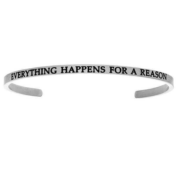Intuitions 'Everything Happens for a Reason' Stainless Steel Cuff Bangle Bracelet