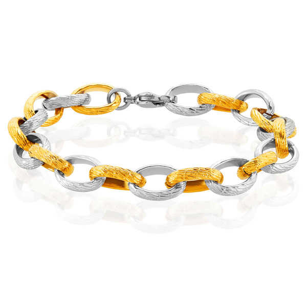 ELYA Two Tone Textured Cable Chain Style Stainless Steel Bracelet