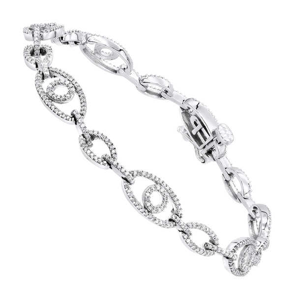 Luxurman Pave Bracelets 14K Gold Ladies Diamond Bracelet 1.2ct