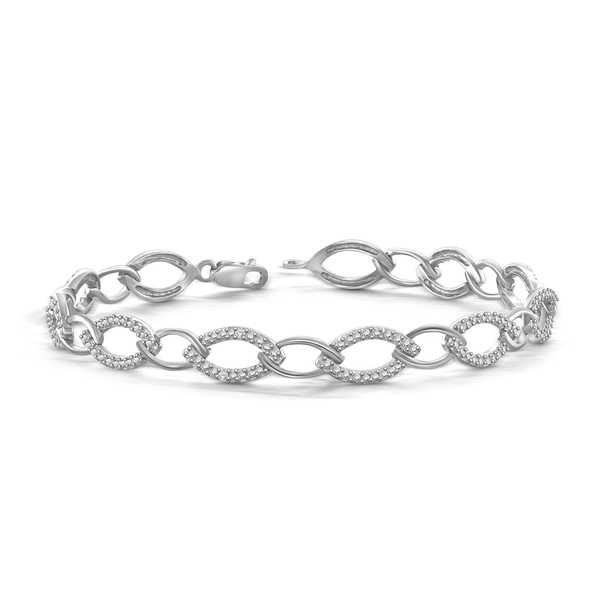 Jewelonfire Sterling Silver Round-cut White Diamond Accent Bracelet