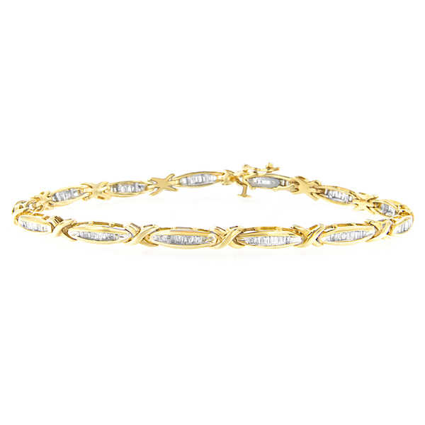 14K Yellow Gold 1ct. TDW baguette-cut Diamond Bracelet (H-I,I1-I2)
