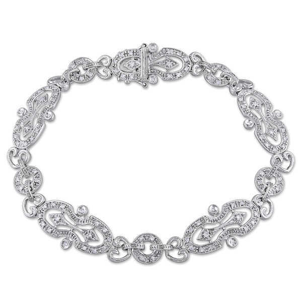 Miadora Signature Collection 14k White Gold 1/2ct TDW Diamond Vintage Filigree Bracelet