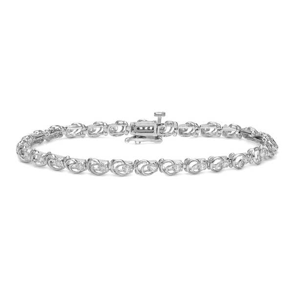 Auriya 14k White Gold 3/5ct TDW Open Link Design Diamond Bracelet