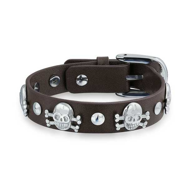 Bling Jewelry Brown Leather Skulls Crossbone Belt Buckle Bracelet Steel