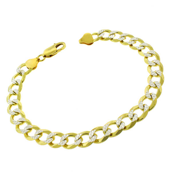 .925 Sterling Silver 8.5mm Goldplated Diamond-cut Solid Cuban Curb Link ITProlux 9-inch Bracelet Chain