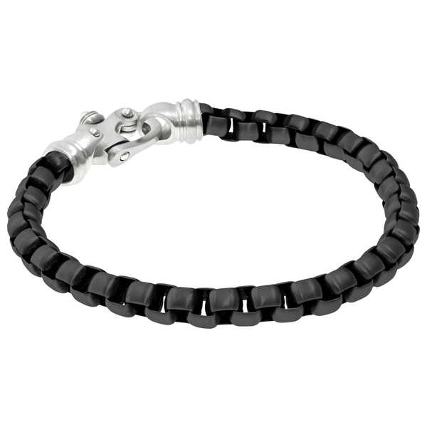 Black-plated Stainless Steel Round Box Chain Bracelet