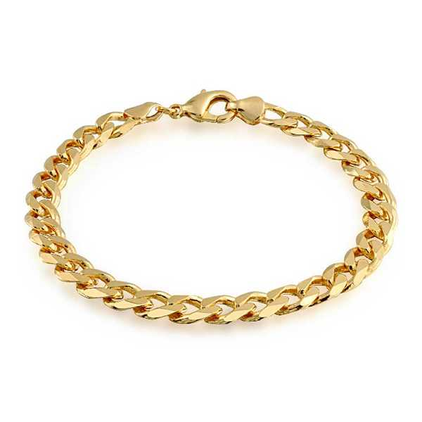 Bling Jewelry Gold Filled Unisex Cuban Curb Chain Bracelet 180 Gauge 8in