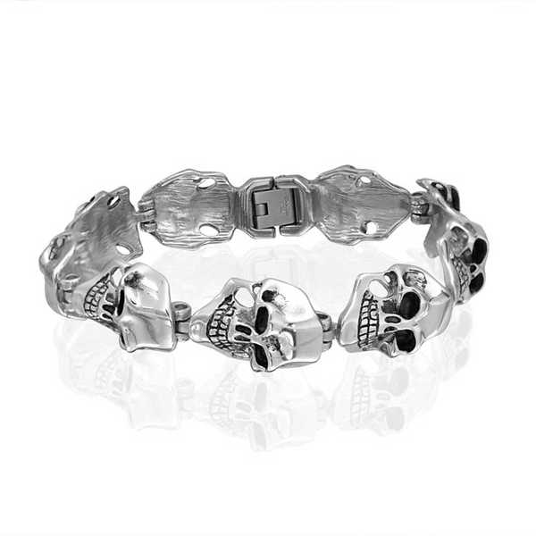 Bling Jewelry Stainless Steel Mens Goth Wide Skull Link Bracelet 8.5in