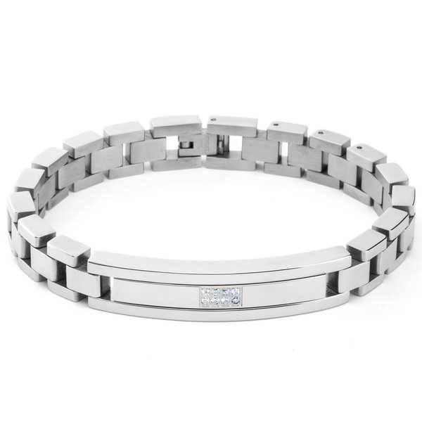 Men's Stainless Steel Square Micro Pave Cubic Zirconia ID Link Bracelet