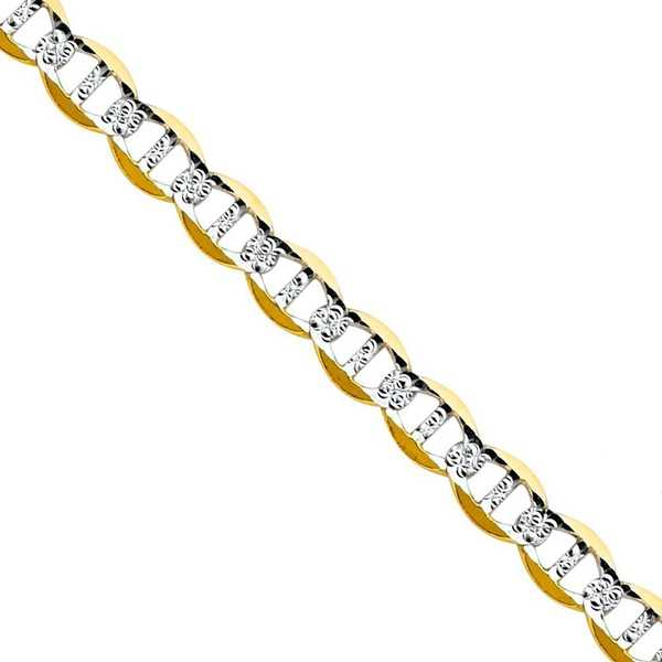 Pori Jewelers 14K Yellow Gold 2.25mm Hollow PAVE Mariner Link Chain Bracelet