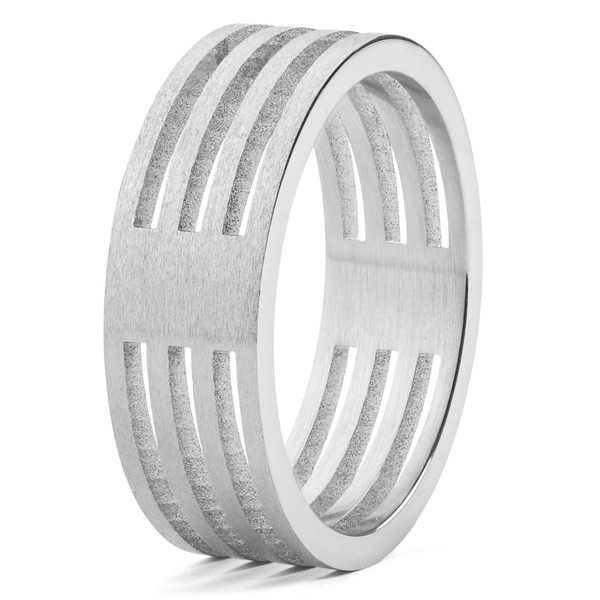 Men's Stainless Steel Brushed Finish 4-Layer Split Ring - Silver