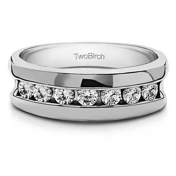 TwoBirch Sterling Silver Men's 2/5ct TGW Moissanite Wedding Ring
