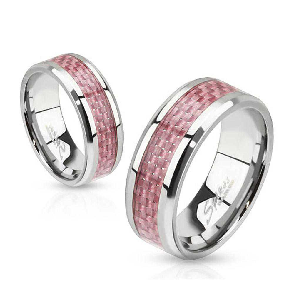 Pink Carbon Fiber Inlay Band Stainless Steel Ring