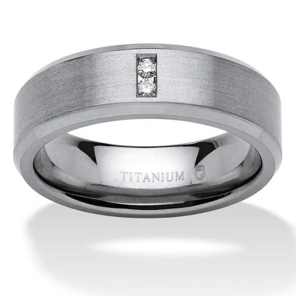 Titanium Men's Round Channel-set Diamond Accent Comfort Fit Angled Wedding Band - White